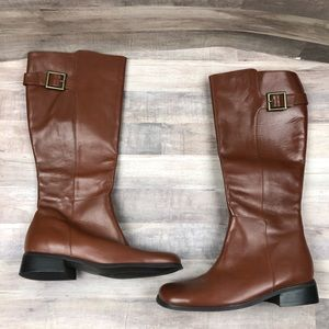 Naturalizer Brown Square Toe Riding Boots